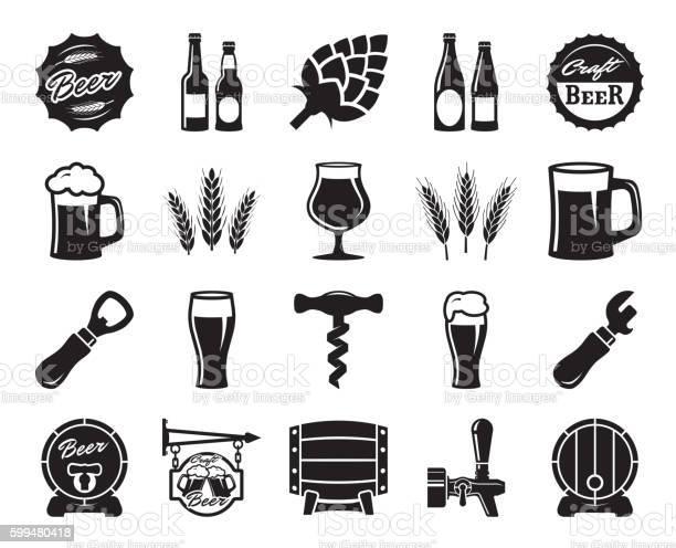Beer Brewing Ingredients Consumer Culture Set Of Black Icons — стоковая векторная графика и другие изображения на тему Алкоголь - напиток