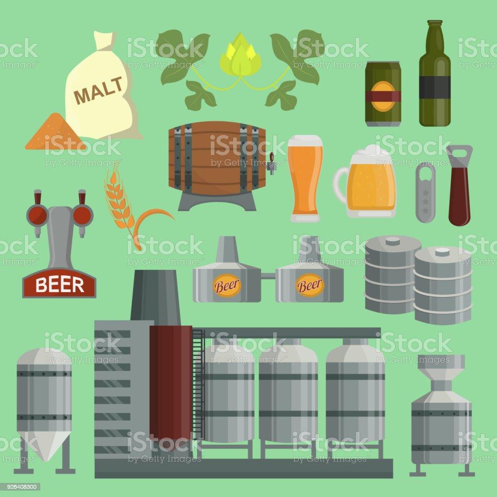 Das Bierbrauen Prozess Fabrik Vektor Flache Produktion Bierfaß ...