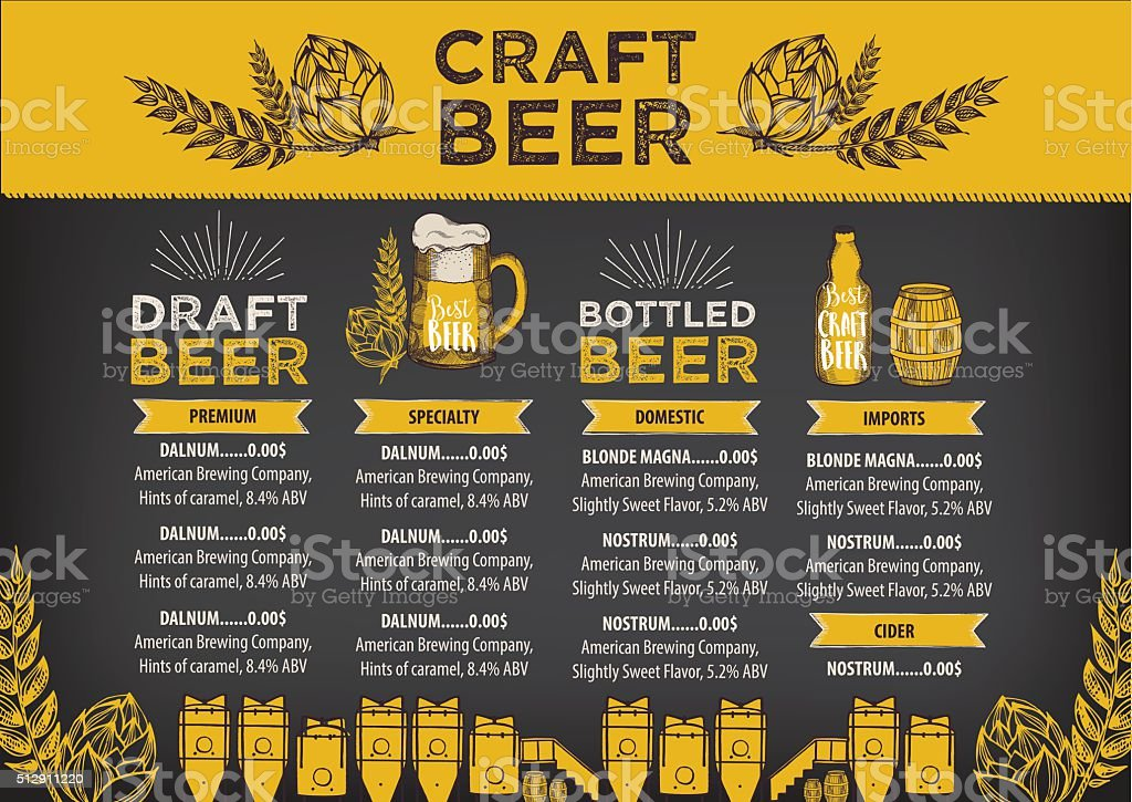 Beer cafe menu, template design. vector art illustration