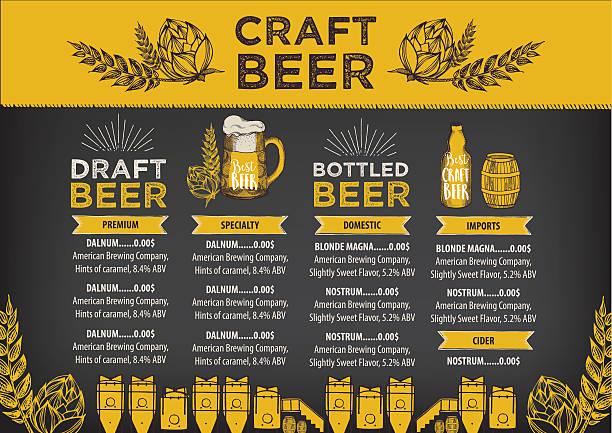 Beer cafe menu, template design. vector art illustration