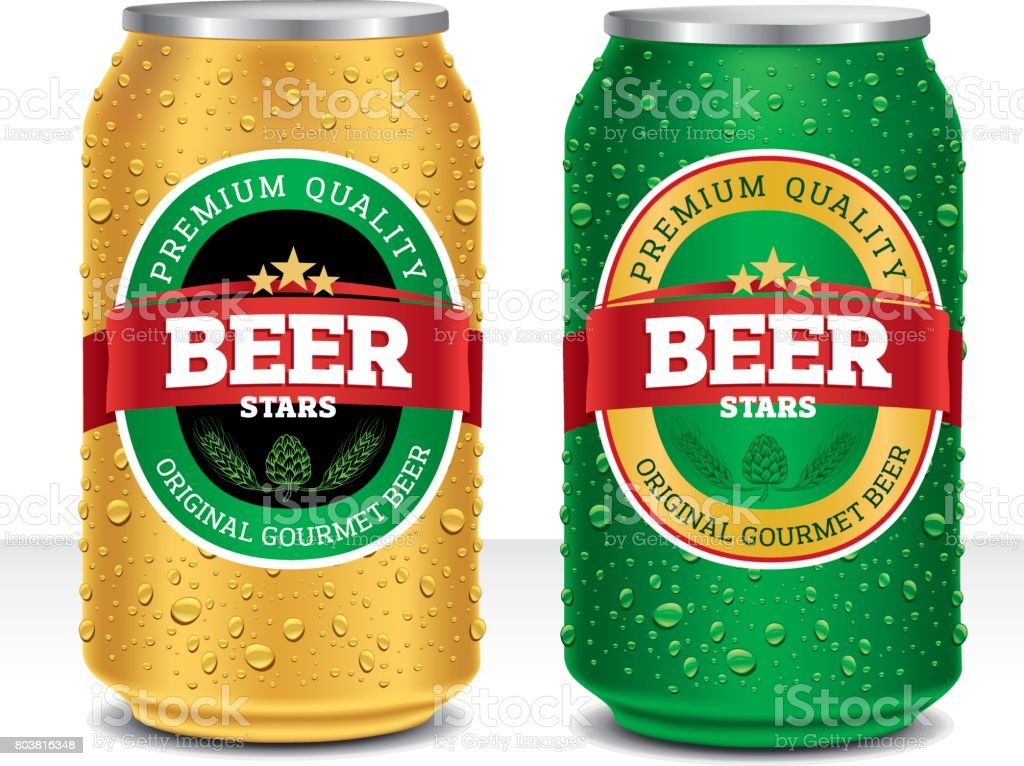 Beer can design template with many water drops vector art illustration