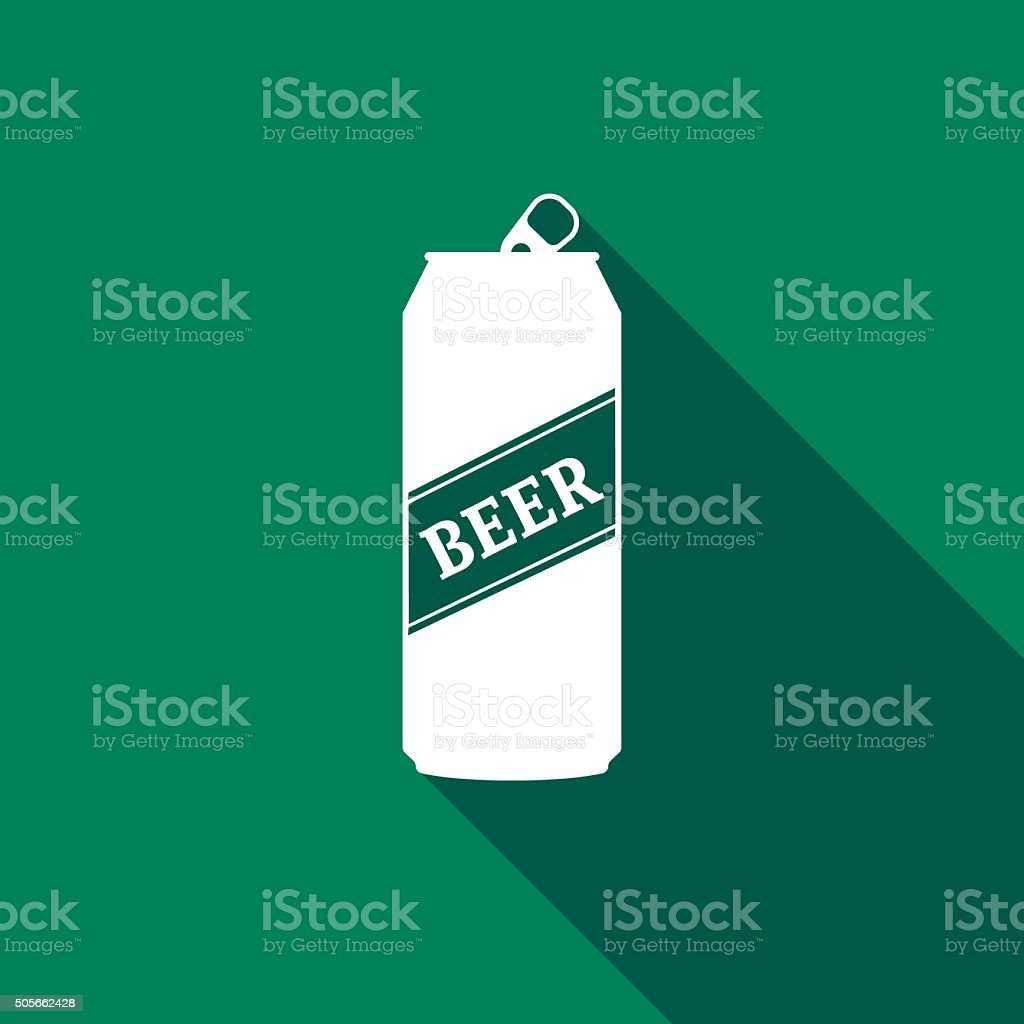 Beer Can Icon with long shadow. vector art illustration