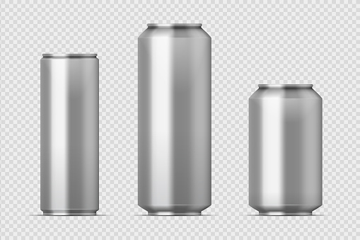 Beer can mockup. Realistic aluminum metal can for soda, different types of blank can with copy space. Vector isolated set