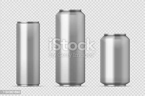 Beer can mockup. Realistic aluminum metal can for soda, different types of blank can with copy space. Vector isolated steel boxes storage set