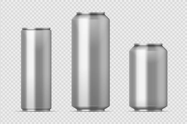 bildbanksillustrationer, clip art samt tecknat material och ikoner med öl kan mockup. realistisk aluminium metall kan för läsk, olika typer av tomma kan med kopia utrymme. isolerad vector-uppsättning - slank