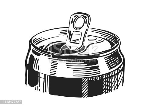 Opened beer can isolated on white background, hand-drawing. Vector vintage engraved illustration.