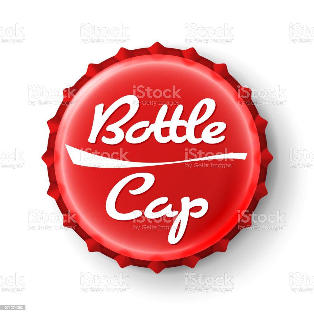 Beer Cap Vector. Red Bottle Cap. Mock Up Temaplate vector art illustration