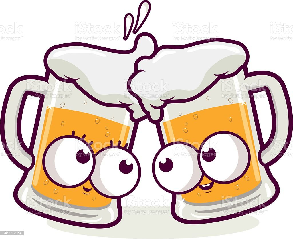 ilustração de desenhos brindando cerveja e mais banco de imagens de