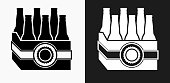 Beer Case Icon on Black and White Vector Backgrounds. This vector illustration includes two variations of the icon one in black on a light background on the left and another version in white on a dark background positioned on the right. The vector icon is simple yet elegant and can be used in a variety of ways including website or mobile application icon. This royalty free image is 100% vector based and all design elements can be scaled to any size.