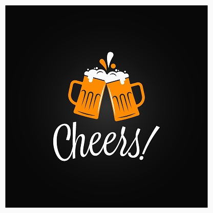 Beer cheers banner. Cheers lettering with beer mugs on black background