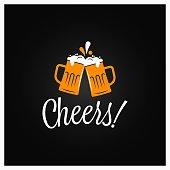 Beer cheers banner. Cheers lettering with beer mugs on black background 8 eps