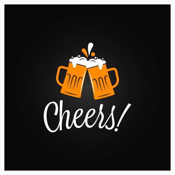 ilustrações, clipart, desenhos animados e ícones de bandeira dos elogios da cerveja. felicidades que rotula com as canecas de cerveja no fundo preto - brinde