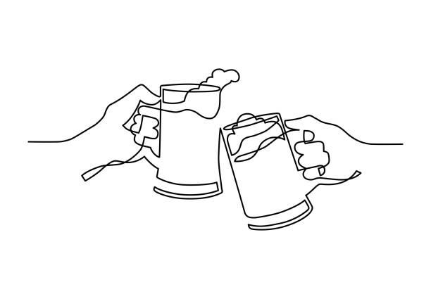 ビール乾杯ワンライン - 飲み会点のイラスト素材/クリップアート素材/マンガ素材/アイコン素材