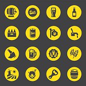 Beer Circle Yellow Black Limited icons