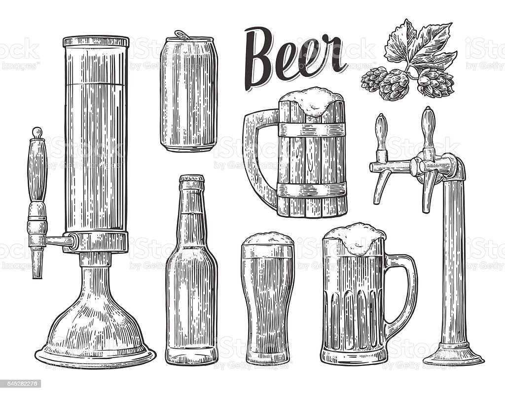 Beer class, can, bottle, barrel. vector art illustration