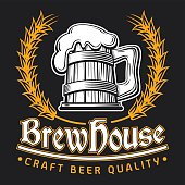 Vector illustration of a Beer Clip Art Template emblem