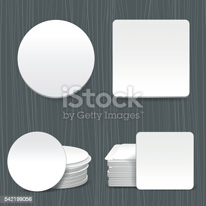 Beer coasters vector. Paper circle coaster and squared paper coaster
