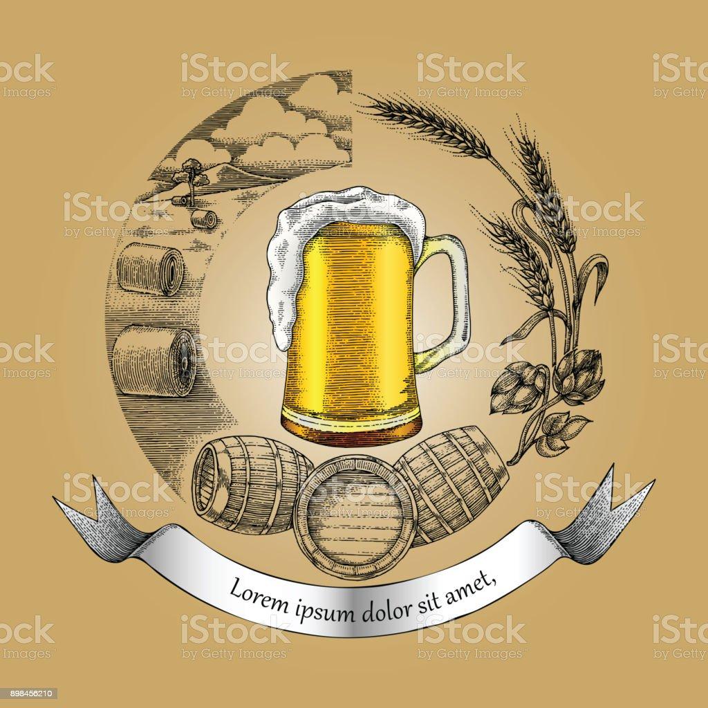 Vetores De Mao De Icone Do Conceito Oficio Cerveja Desenho Estilo