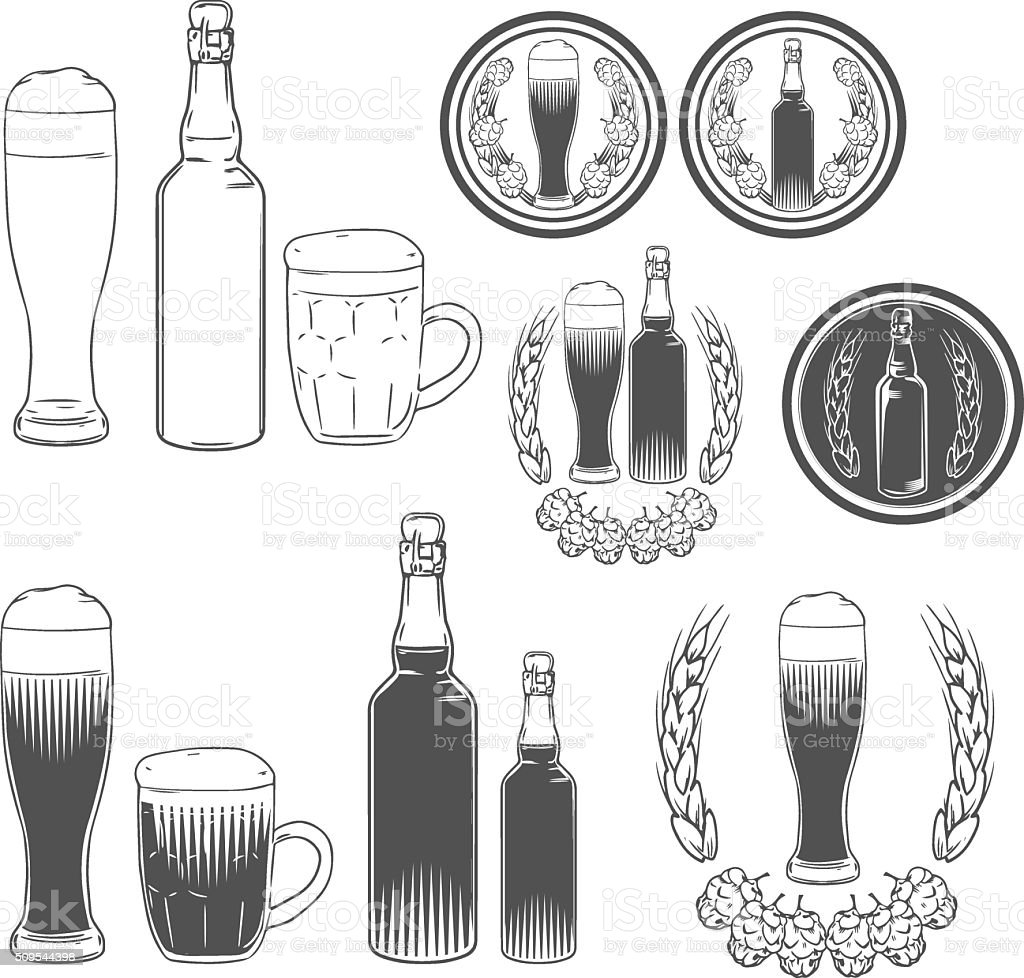 Beer Craft Design Elements Bottle Stock Vector Art More Images Of