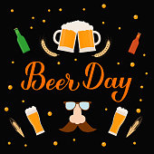 Beer day calligraphy hand lettering. Holiday celebrate on the first Friday of August. Vector template for banner, typography poster, flyer, sticker, postcard, t-shirt, etc.