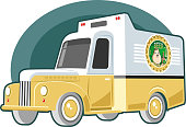 Easy editable vintage beer  delivery truck vector illustration. All elements was layered seperately...