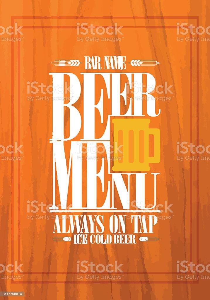 Bier-design für Bar – Vektorgrafik