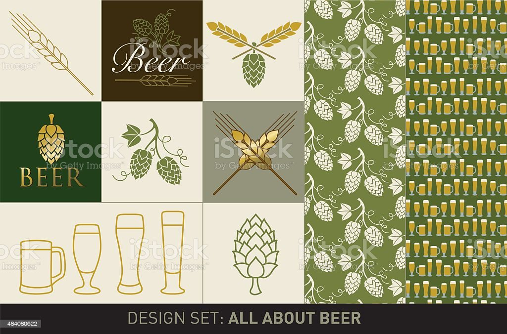 Beer design set vector art illustration