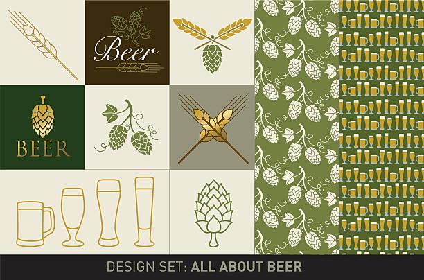 Beer design set vector art illustration