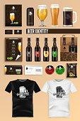 Beer Identity Flat Cartoon Vector Illustration. Shop and Restaurant Brand Mock Up Set. Dark and Light Craft Drink Bottle, Logo, Package, Menu, Business Cards. Envelopes, Stickers and Tshirts.