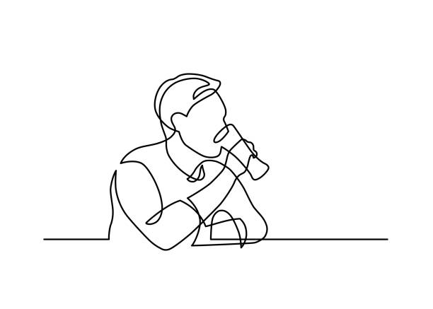 beer drink one line Continuous line drawing of sitting man drinking beer on white background. Vector illustration. contour line stock illustrations