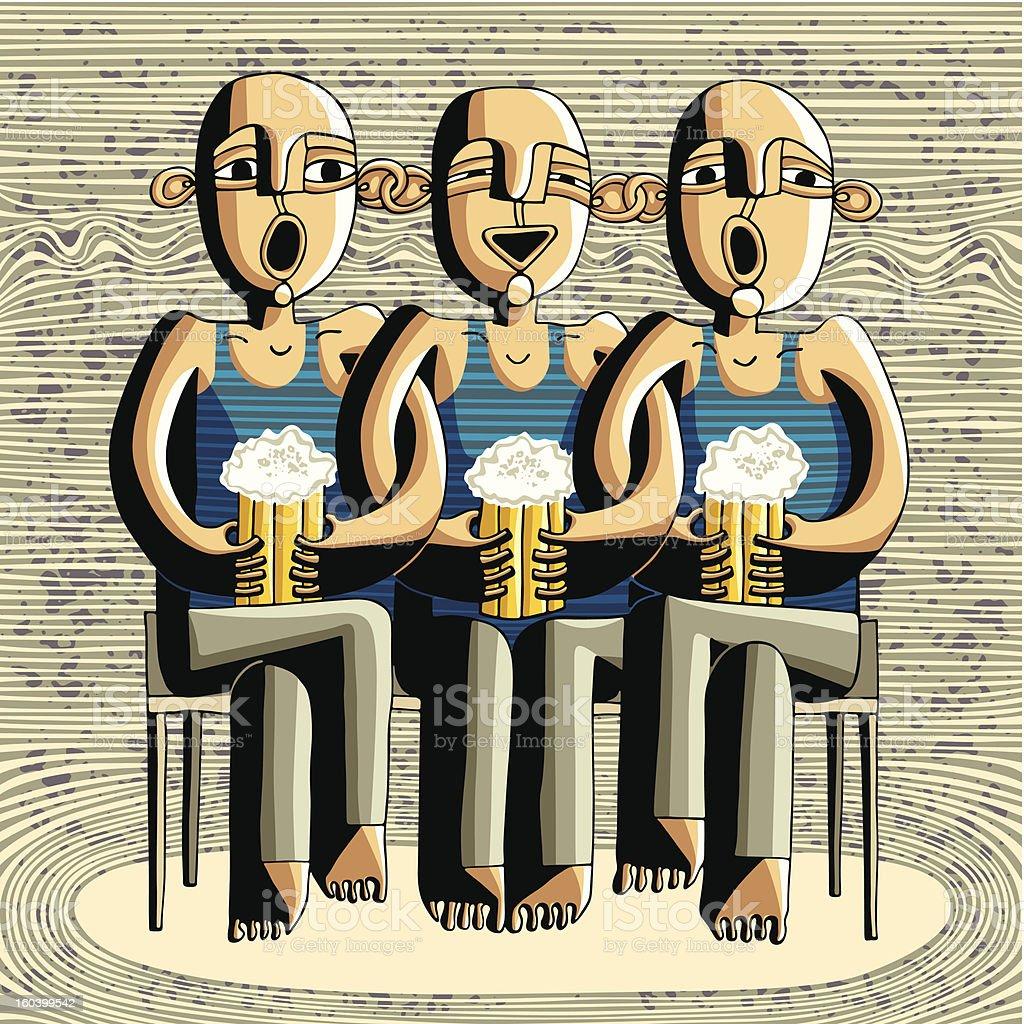 Beer drinking friends royalty-free stock vector art
