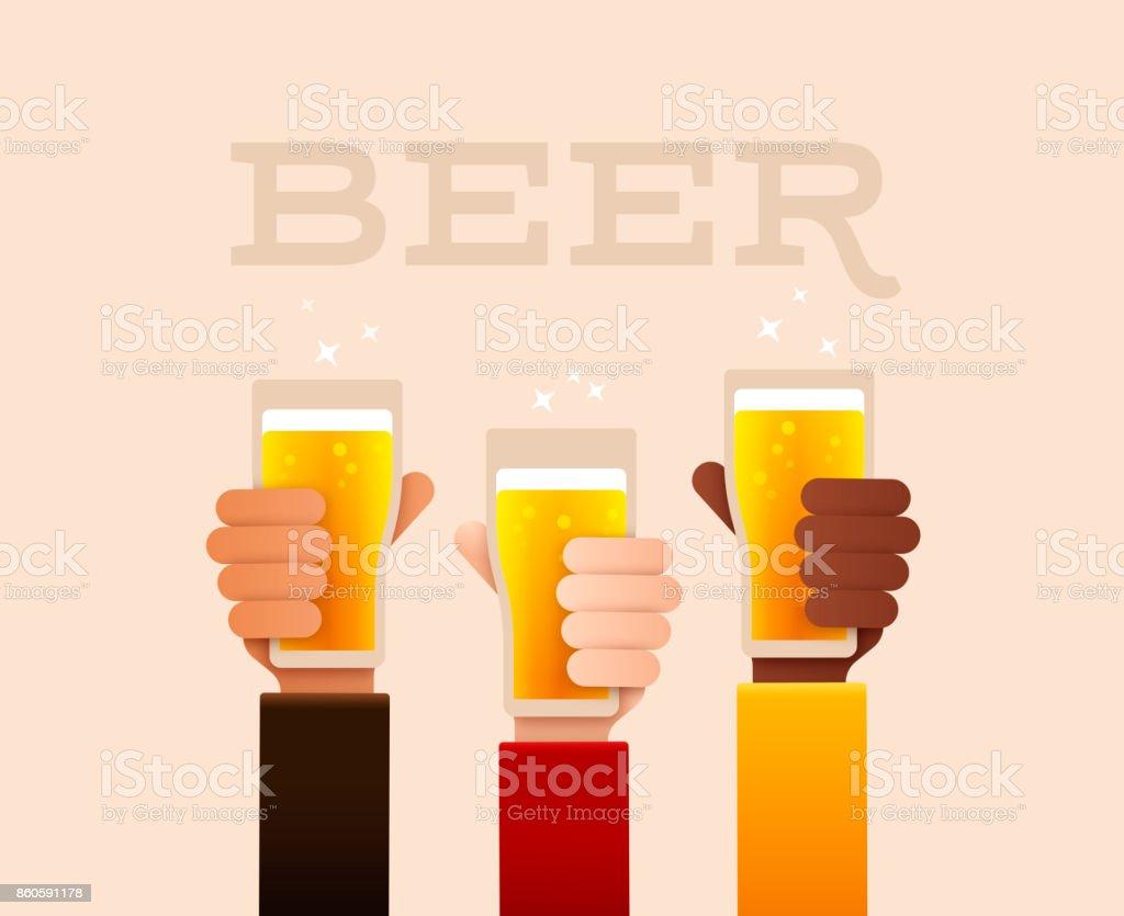 Beer Drinking Raised Hands vector art illustration