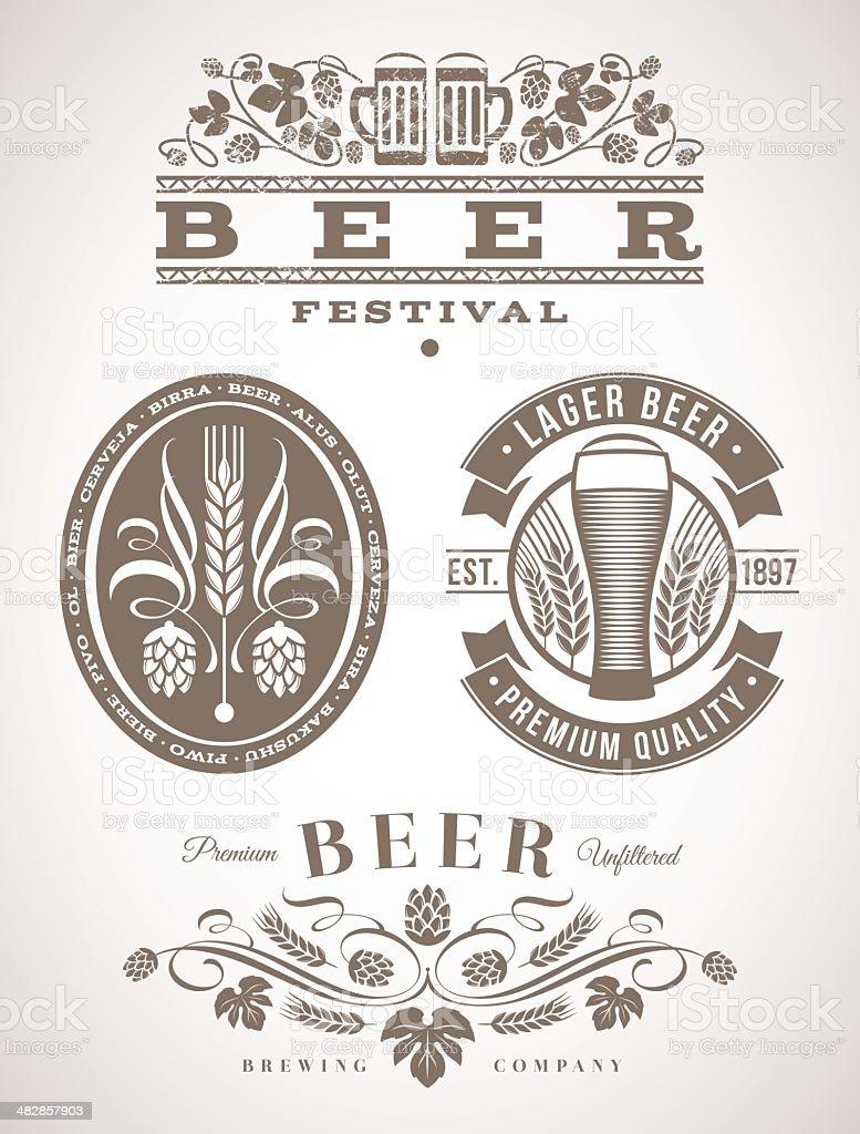 Beer emblems and labels - vector illustration vector art illustration