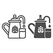 Beer fermentation line and solid icon, Craft beer concept, equipment for filtration and brewing sign on white background, brewing vessel with beer glass icon in outline style. Vector graphics