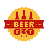 Beer fest hand drawn flat color vector icon. Brew festival fun sticker, beer bottle silhouette design element. Emblem isolated, white background. Brew Fest welcome flyer template cartoon illustration