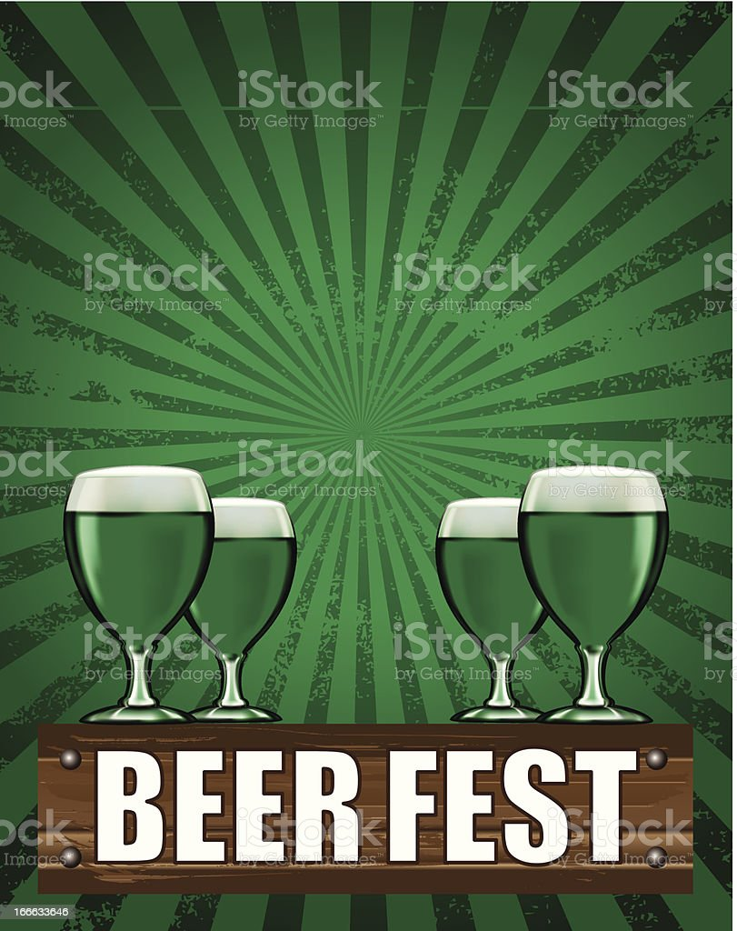 beer fest poster with four cups vector art illustration