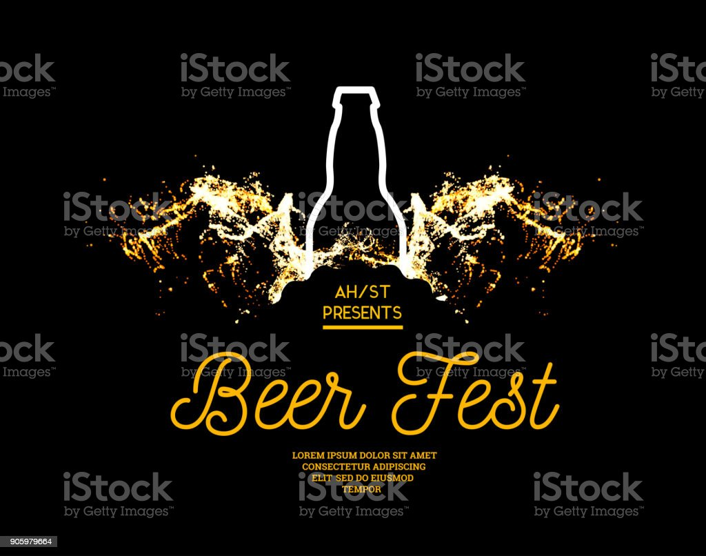 Beer fest. Splash of beer with bubbles on a black background. Vector illustration with a silhouette of a bottle vector art illustration