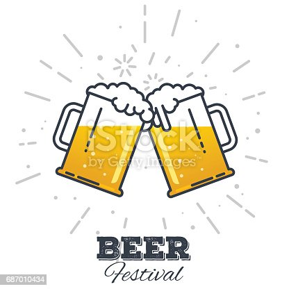 Two gig glasses with fresh yellow live beer and white foam, and bubbles. Line style flat vector illustration. Beer festival concept. Lager sort. Clinking beer glasses.