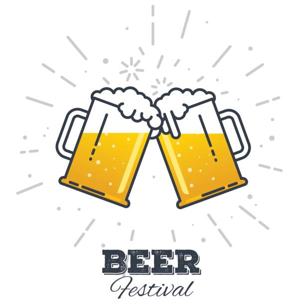 Beer festival icon Two gig glasses with fresh yellow live beer and white foam, and bubbles. Line style flat vector illustration. Beer festival concept. Lager sort. Clinking beer glasses. beer glass stock illustrations