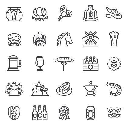 Beer Festival Icons. Oktoberfest Concept Set