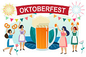 Women in traditional Bavarian clothes celebrate beer festival Oktoberfest. Girls friends in dindl have fun at the Oktoberfest. Vector
