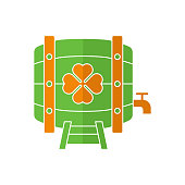 Beer barrel flat icon vector illustration. Beer icon design isolated on white background. St. Patricks Day vector illustration. St. Patrick's Day vector icon trendy flat symbol for website, app, UI.
