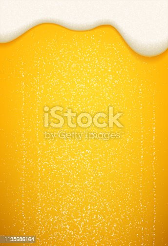 Beer foam and bubbles background. Vector poster template of seamless realistic craft beer with flowing foam and bubbles