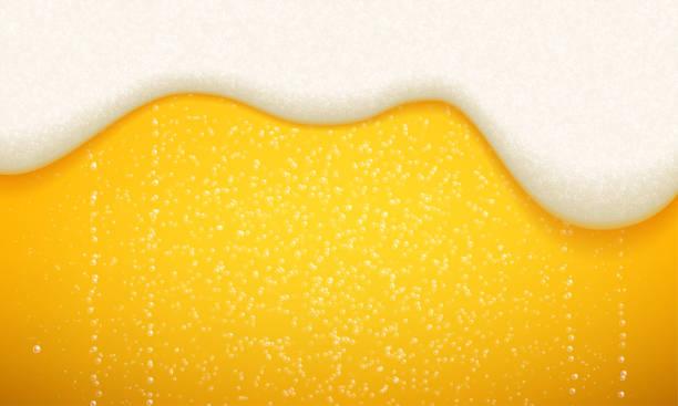 illustrations, cliparts, dessins animés et icônes de mousse de bière et fond de bulles. la bière artisanale réaliste sans soudure de vecteur avec la mousse et les bulles fluides - mousse d'emballage
