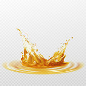 Beer foam splash of white and yellow color on a transparent background. Vector illustration EPS10