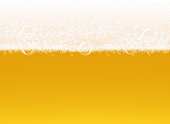 Beer foam. Transparent macro view bubbles on yellow background liquid alcoholic drink realistic vector template. Foam beer alcohol, macro fresh beverage illustration