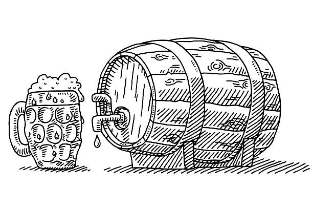 Beer Glass And Barrel With Tap Drawing Hand-drawn vector drawing of a Beer Glass And a wooden Barrel With a Tap. Black-and-White sketch on a transparent background (.eps-file). Included files are EPS (v10) and Hi-Res JPG. oktoberfest stock illustrations