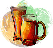 Drawing of Beer Glass and Mug. Elements are grouped.contains eps10 and high resolution jpeg.