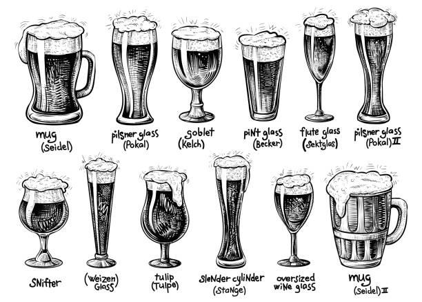 Tipos de vidro e canecas de cerveja. Vetorial mão extraídas ilustrações vintage. - ilustração de arte em vetor