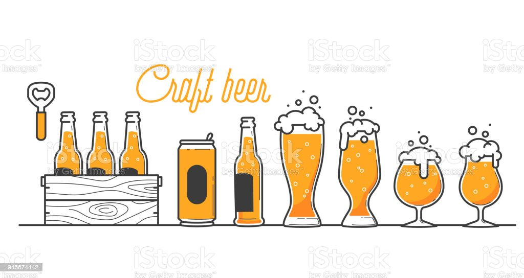 Beer glass, bottle and can types. Craft beer calligraphy design and minimal flat vector illustration of different type of beers. Six pack in a wood box. Oktoberfest equipment. Restaurant illustration